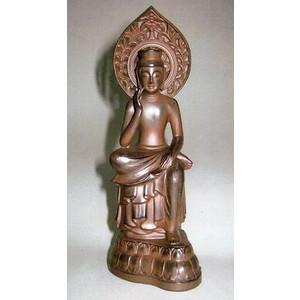 仏像 弥勒菩薩(みろくぼさつ) 合金製 煮色 高さ15cm