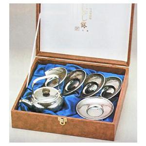 ☆ 贈り物にも 信用 ☆純錫製の茶器セット 送料無料 o131-06茶道具 急須 茶托セット いぶし銀 B さざ波 毎日激安特売で 営業中です 紙箱入