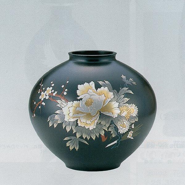 【送料無料】o22-01花瓶 寿型12号(牡丹四君子彫金) 青銅製 【送料無料】