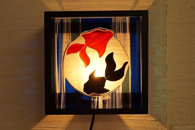 ブラケットシカク フュージング 夏 金魚 背景クリア【ステンドグラス】【フュージングガラス】【インテリア】【照明】【ブラケット】【リフォーム】