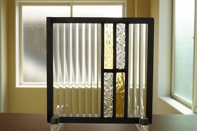 ステンドグラス シンプルライン イエロー×クリア 18cm×18cm