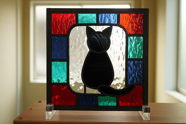 ステンドグラス 黒猫3 20cm×20cm