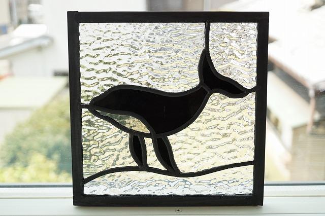 ステンドグラス クジラ 18cm×18cm