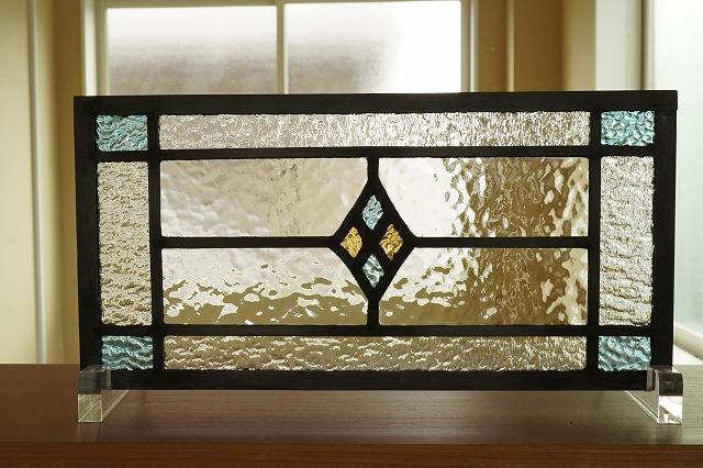 ステンドグラス ダイヤ5種のクリア 36cm×18cm