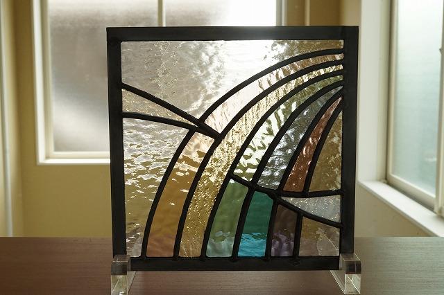 ステンドグラス 虹と雲 18cm×18cm