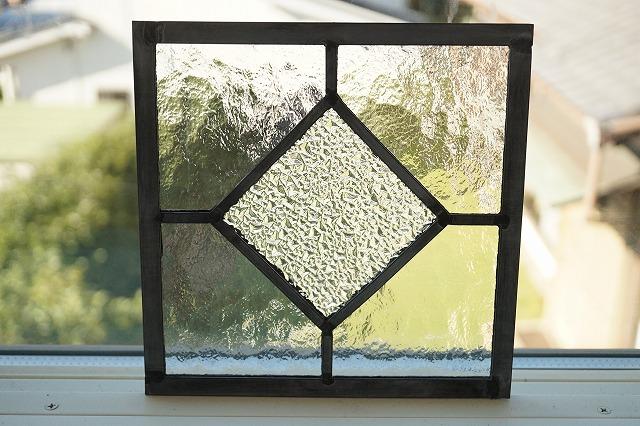ステンドグラス シンプルひし形 クリア 18cm×18cm