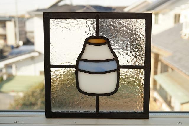 ステンドグラス ボトル(透けない白) 18cm×18cm