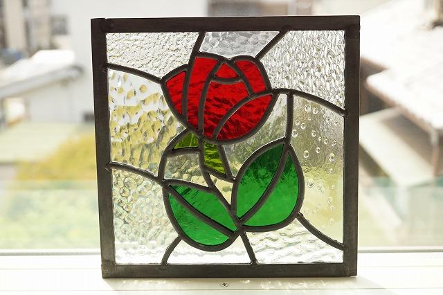 ステンドグラス 赤いバラ 8種のクリア 18cm×18cm
