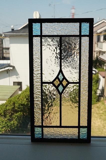 ステンドグラス 四つのダイヤ 長方形 水色×イエロー 18cm×36cm