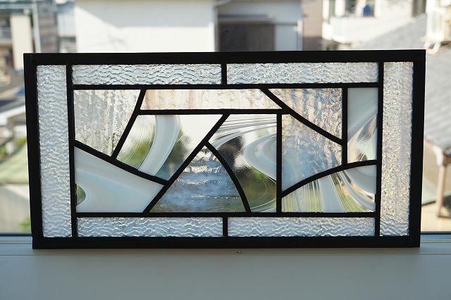 ステンドグラス 横長方形 ホワイト×クリア 40cm×20cm