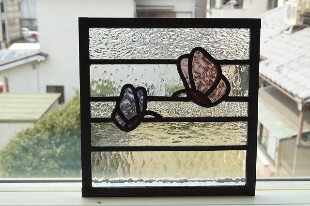 ステンドグラス 横縞 2ひきのちょうちょ 18cm×18cm
