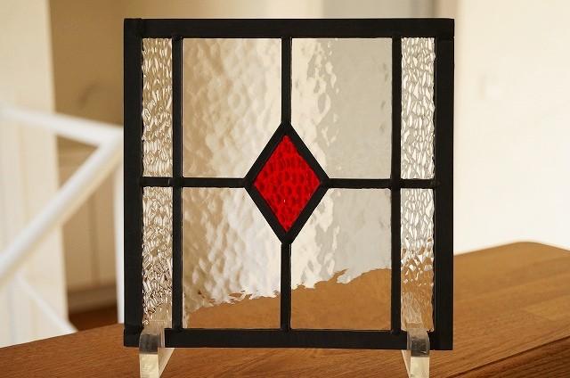 ステンドグラス ダイヤ ハンマード レッド 18cm×18cm