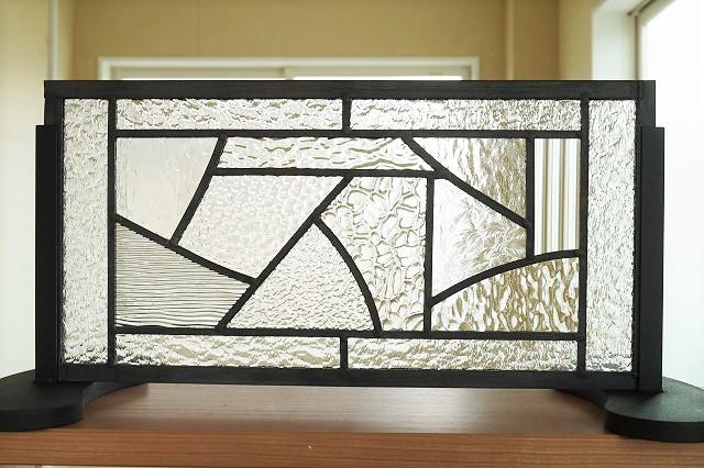 ステンドグラス パネル 住宅用 横長方形 カーブとストレート 11種のクリア 40cm×20cm【ステンド 室内窓 壁埋め込み 小窓 スクエア カラーレス モールガラス 明かり採り】