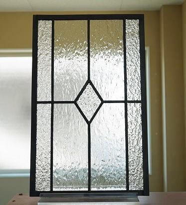 ステンドグラス住宅用パネル ダイヤ クリア2 タテ長 25cm×40cm【ステンド 室内窓 壁埋め込み 小窓 明かり採り】