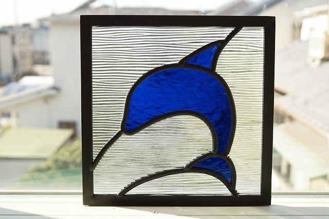 ステンドグラス イルカ 18cm×18cm