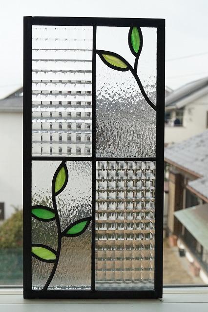 ステンドグラス 小さな葉っぱ 長方形 2種のクリア 20cm×40cm