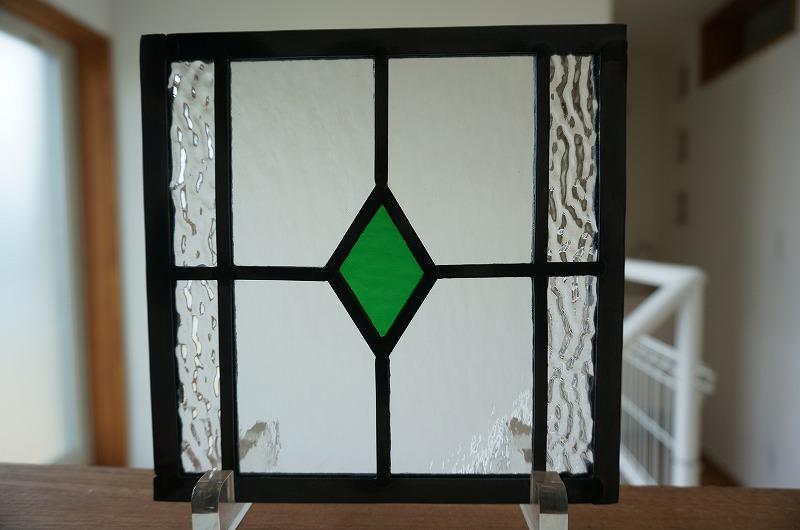 ステンドグラス ダイヤ グリーン 18cm×18cm