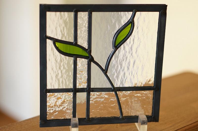 ステンドグラス 葉っぱ4 18cm×18cm