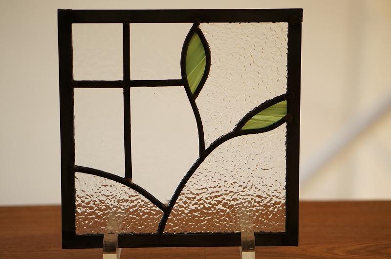 ステンドグラス 葉っぱ3 18cm×18cm