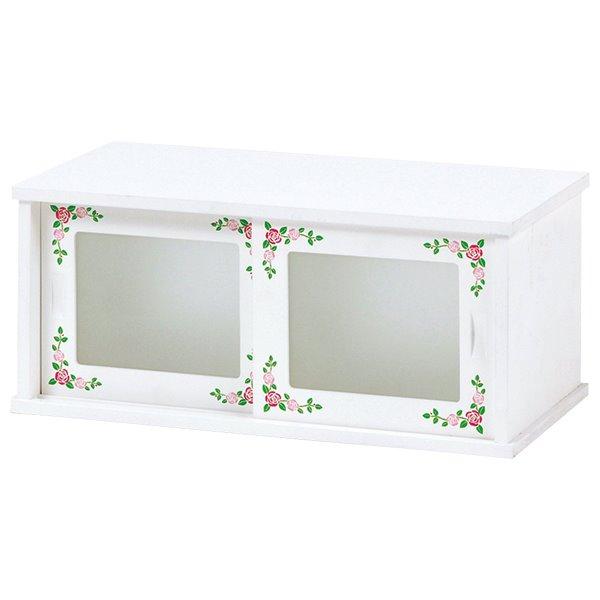 カウンター上収納棚 両開きスライドドア 白 ホワイト おしゃれ ローズペイント 幅50cm 完成品