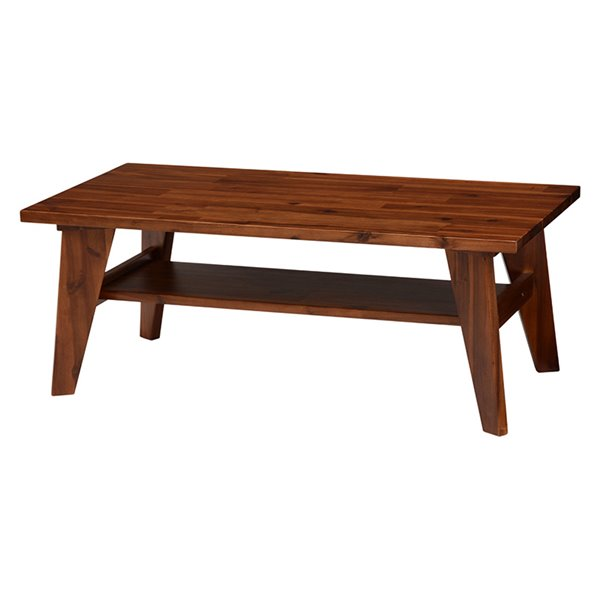 センターテーブル ローテーブル 天然木製 アカシア材 おしゃれ 収納棚付き