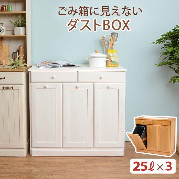 分別ペールカウンター 3分別ダストボックス 25リットル キッチン用ゴミ箱 幅87cm 高さ81cm