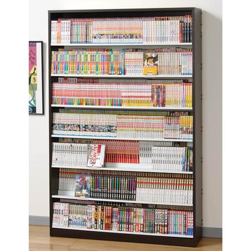 本棚 漫画 大容量 段違いコミックストッカー 日本製 ウォールナットダーク