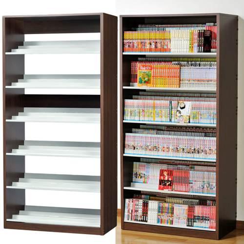 本棚 漫画本 コミック 段違い ひな段収納棚 奥行3段 日本製 ダークブラウン