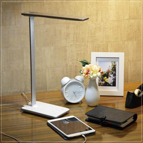 LEDスマート テーブルランプ シルバー 銀 5段調光 LEDデスクスタンド デスクスタンドライト