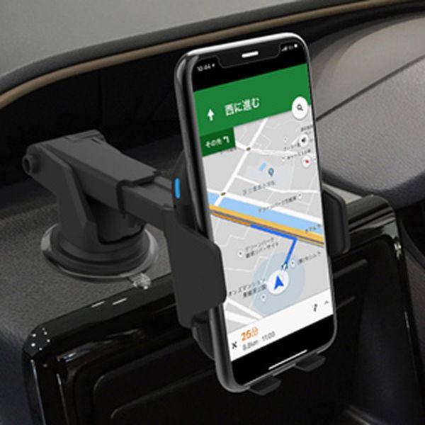車載用スマホホルダー Qi充電器 急速 ワイヤレス充電器 角度調節 伸縮 可動式 自動開閉ホルダー