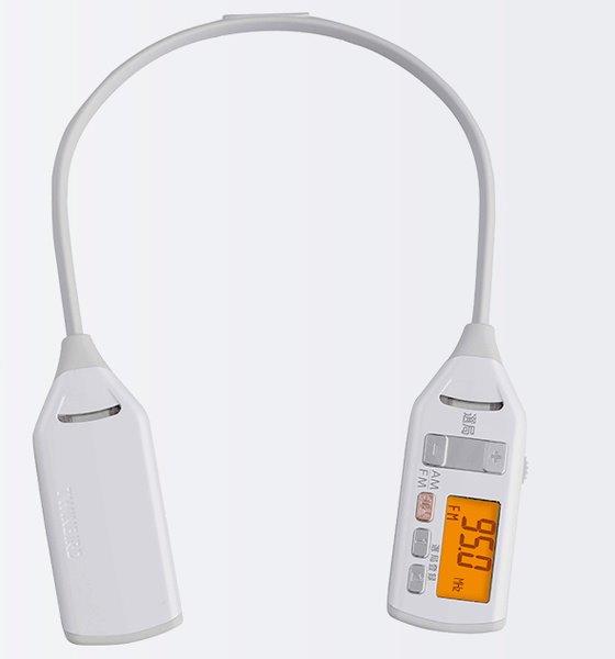 着るラジオ ツインバード 防滴機能 AM FM ワイドFM対応 反射板付き 肩掛け式 ホワイト