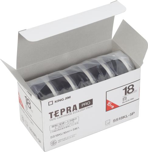 テプラ テープセット キングジム PROテープエコパック(白ラベル/黒文字)(5個入り/ロングタイプ) SS18KL-5P