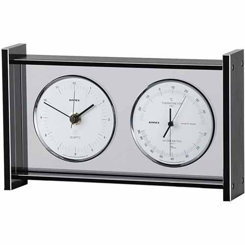 エンペックス スーパーEXギャラリー温・湿度・時計 EX-792 温度計 湿度計 時計 置時計 機能的でシンプルなデザイン・インテリアに最適!
