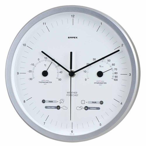 エンペックス スーパーEX晴天望機・1台4役(シルバー) EX-5471 天気予測 時計 温度計 湿度計 EMPEX 壁掛け時計 多機能壁掛け時計 WEARHER CLOCK