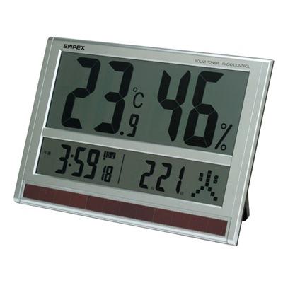 電波時計 エンペックス ジャンボソーラー温湿度計 TD-8170 超大型液晶 太陽電池 電波時計 温度計 湿度計 電波時計 カレンダー ソーラー電池 温湿度計