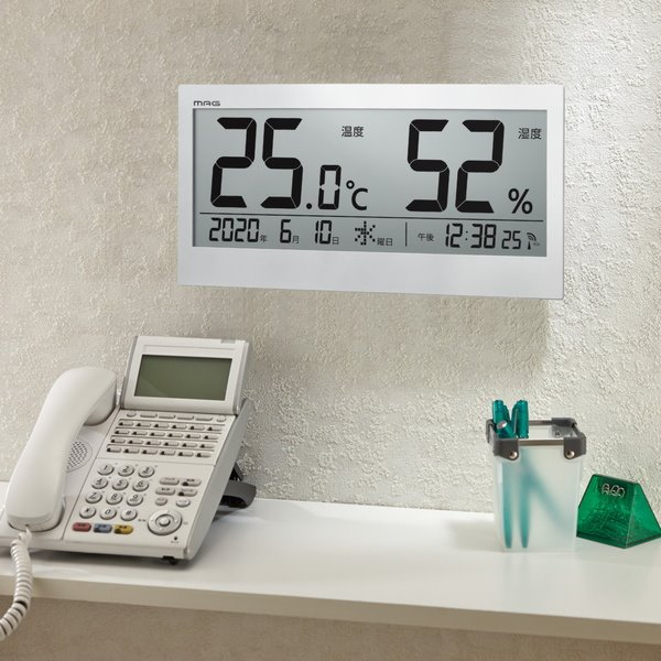 NOA ノア精密 MAG TH-107-WH-Z クロック お洒落 時計 インテリア 電波 壁掛け 優先配送 スタンド 冬 置き掛け両用 大型 見やすい 乾燥対策 幅37cm カレンダー表示付き デジタル 入荷予定 大きい 熱中症対策 夏 時刻表示 温湿度計