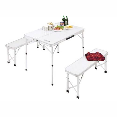 レジャーテーブルチェアー ベンチインテーブル アルミ製 折りたたみ 4人用