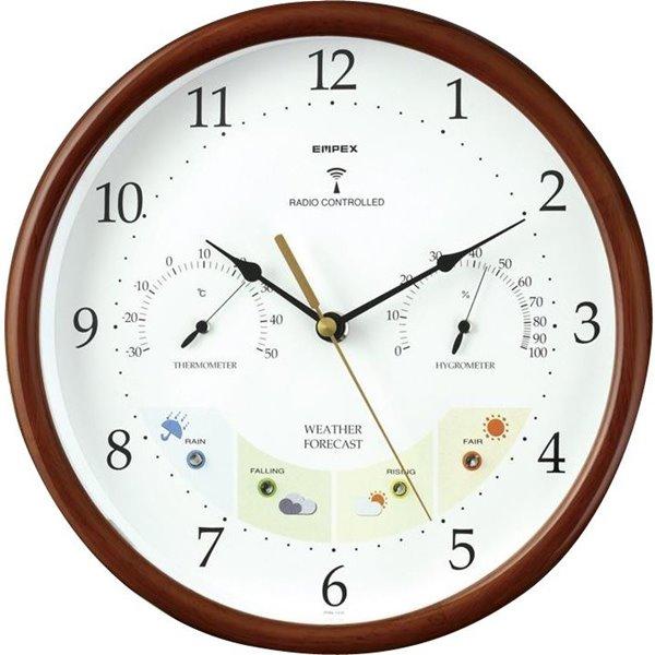 エンペックス ウエザーパル電波時計・1台4役 BW-873 温度湿度計付・お天気電波時計 天気予測 時計 EMPEX 壁掛け時計 多機能壁掛け時計 電波時計 WEARHER CLOCK