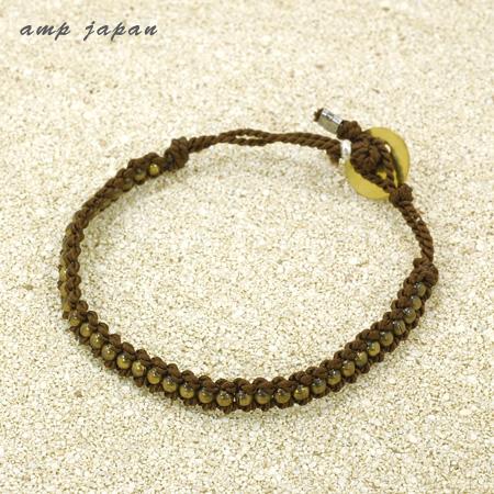 amp japan アンプジャパン メンズ ブレスレット ブレスレット レディース ソリッドブラス 真鍮 シルク紐 11AHK-122BRN ギフト プレゼント ジュエリー