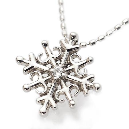 冬の人気モチーフ 雪の結晶 ネックレス ダイヤモンド 10金ホワイトゴールド K10WG 送料無料 ギフト プレゼント ジュエリー