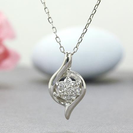大人の雰囲気が煌びやかなネックレス ネックレス ダイヤモンド0.1ct 18金ホワイトゴールド K18WG 送料無料 ギフト プレゼント ジュエリー