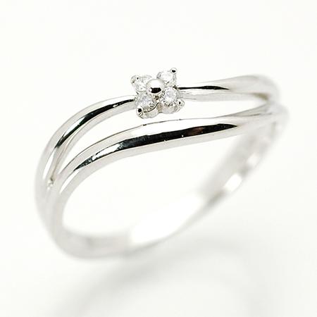 クールブフルール ピンキー リング ダイヤモンド 18金 ホワイトゴールド K18 WG 送料無料 ギフト プレゼント ジュエリー Xmas早割