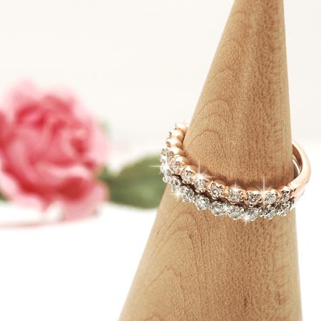ダイヤモンドの輝きが存分に楽しめる ピンキー リング ダイヤモンド 10金 ピンクゴールド K10 PG 10金 ホワイトゴールド K10 WG