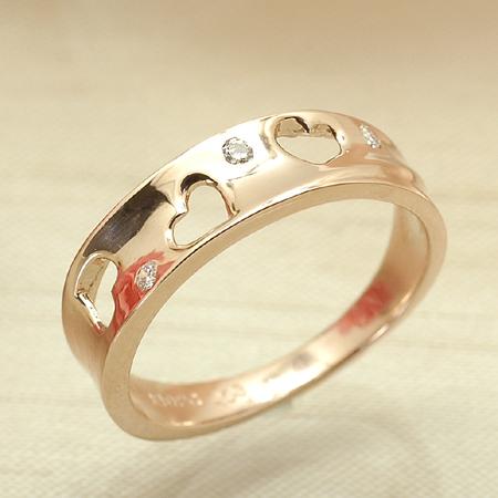 ラブリーハートが存在感のピンキー ピンキー リング ダイヤモンド 10金 ピンクゴールド K10 PG 送料無料 ギフト プレゼント ジュエリー Xmas早割