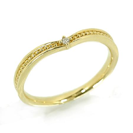 ピンキー リング ダイヤモンド 18金 イエローゴールド K18 YG 送料無料 ギフト プレゼント ジュエリー Xmas早割