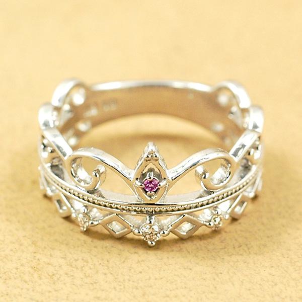ピンキー リング ダイヤモンド0.01ct ピンクサファイア 10金 ホワイトゴールド K10 WG 送料無料 ギフト プレゼント ジュエリー Xmas早割