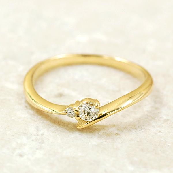 ピンキー リング ダイヤモンド0.08ct 10金 イエローゴールド K10 YG 送料無料 ギフト プレゼント ジュエリー Xmas早割