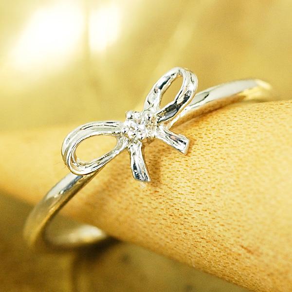 通常価格の10%OFF フェミニンな立体的デザインのリボンピンキー ピンキー リング ダイヤモンド 18金ホワイトゴールド K18WG 送料無料 ギフト プレゼント ジュエリー Xmas早割