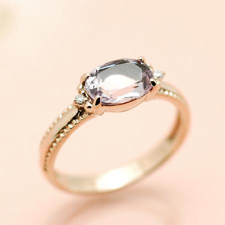 リング ローズ アメジスト ダイヤモンド 18金 ピンクゴールド K18 PG 送料無料 ギフト プレゼント ジュエリー Xmas早割