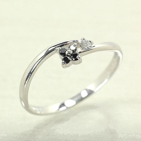 リング ブラックダイヤモンド 10金 ホワイトゴールド K10 WG